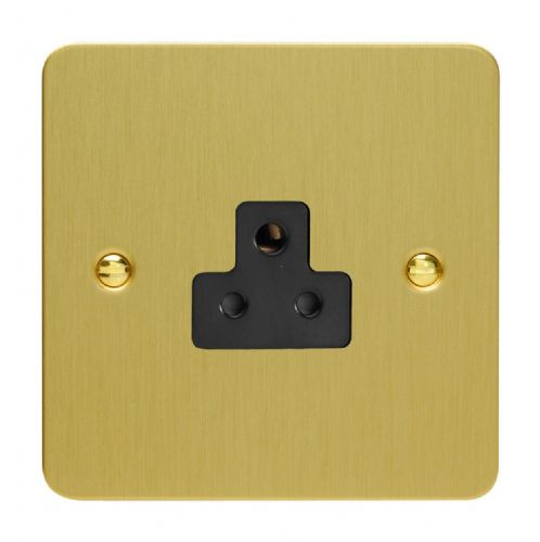 Varilight XFBRP2AB Ultraflat Brushed Brass 1 Gang 2A Round Pin Plug Socket
